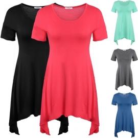 1162e0889329c Tops Meaneor Women s Short Sleeve Scoop Neck Handkerchief Hem Tunic Top