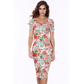 c31718d509 Meaneor Women s Short Sleeve Stretchy Bodycon Party Evening Slim Fit Mini  Dress
