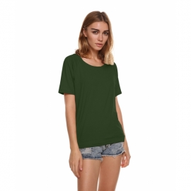 a8b4b45c1a25 T-Shirts Meaneor Women s Crew Neck Short Sleeve Loose Fit Open Back Drape  Knit Jersey