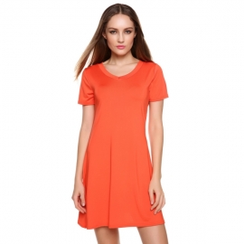 153f66b5ca Mini Meaneor Women s Short Sleeve V Neck Drapey Solid Pleated Flare Party Mini  Dress