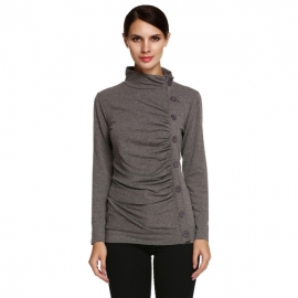 Tops Meaneor Women's Long Sleeve Mock Neck Slimming Button Embellished Top