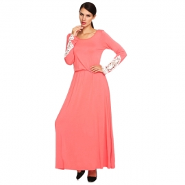 3ef96495b5c Dresses Meaneor Women s Lace Long Sleeve Scoop Neck Maxi Dress with Elastic  Waistband (L