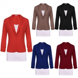 2c9f66f615b Blazers Meaneor Women Juniors 3 4 Sleeve Button Casual Work Candy Color  Blazer Jacket