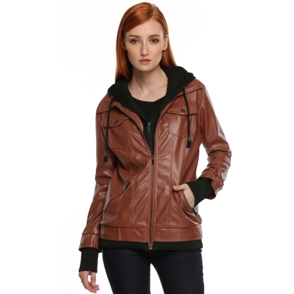 Meaneor Women's Faux Leather Zip Up Everyday Bomber Jacket Black L ...