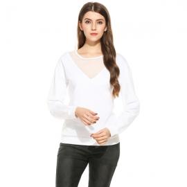 Tops Meaneor Women's V-Notch Pullover Long Sleeve Fleece Casual Sweatshirt Top
