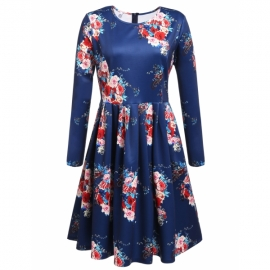 576059b992e plus size Meaneor Women Plus Size Long Sleeve Vintage Floral Dress for  Christmas Holiday Party