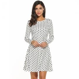 75984f5fe1 Dresses Meaneor Women's Polka Dot Casual Long Sleeve Pleated Flowy Tunic  Dress
