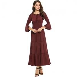 5757968b4e Meaneor Women s 3 4 Bell Sleeve Elastic Waist Tiered Renaissance Pleated  Maxi Dress
