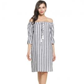 Dresses Meaneor Women Off the Shoulder Striped Mini Tunic Shift Dress with  Tassel Tie 044c849de