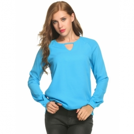 0715987ec27c0 Tops Meaneor Women Long Sleeve V Neck Hollow Double Layer Side Slit Chiffon  Blouse