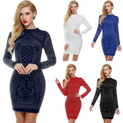 Meaneor Womens Long Sleeve Rhinestone Embellished Vintage Cocktail Dresses